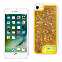 Reiko Mobile & Tablet Accessories New Case With Flowing Glitter And LED Effect In Yellow For iPhone 7 Plus By Reiko