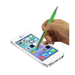 Reiko Mobile & Tablet Accessories New Crystal Stylus Touch Screen With Ink Pen In Green By Reiko