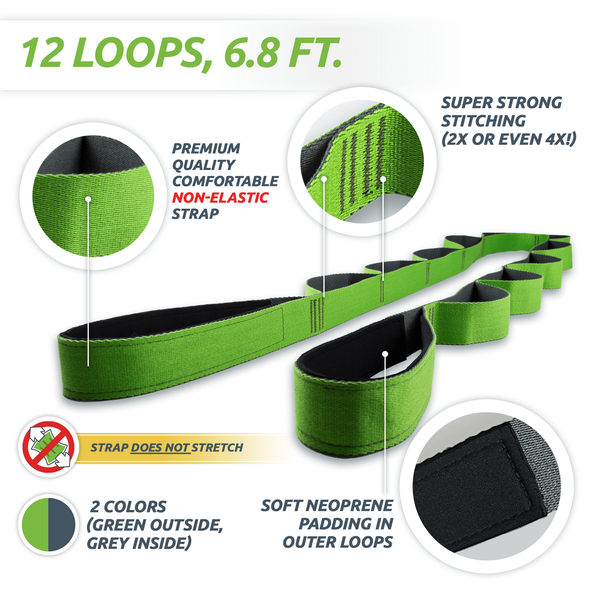 Stretching Strap with Loops (Non-Elastic) - EverStretch