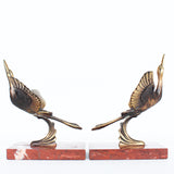 A pair of Art Deco, bronze bookends in the form of two marabou storks. Set over marble plinths.
