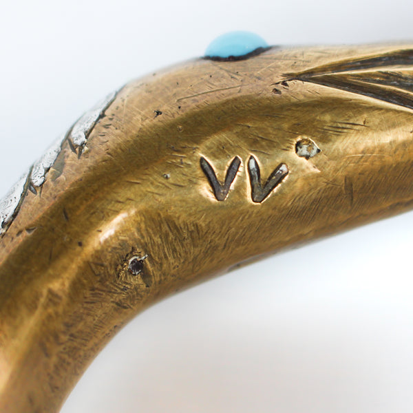 Cold painted bronze snake lamp, signed 'VV' to neck and 'VO' to base at Jeroen Markies.