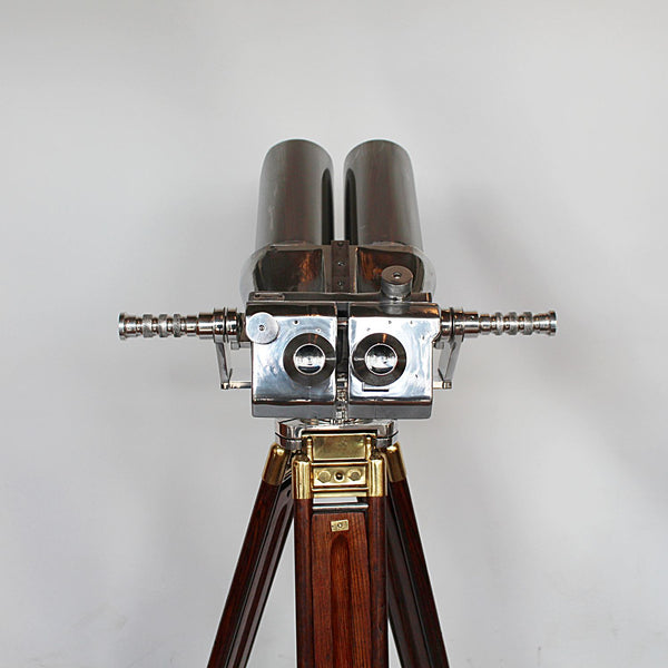 Art Deco binoculars attributed to Zeiss on wooden stand at Jeroen Markies