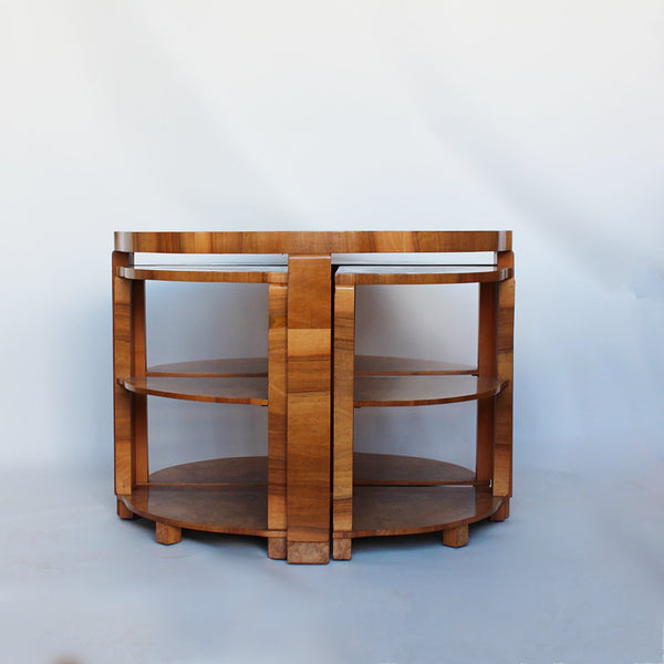Art Deco nest of tables circa 1930 in burr walnut