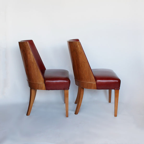 Art Deco chairs in walnut and leather circa 1930 at Jeroen Markies