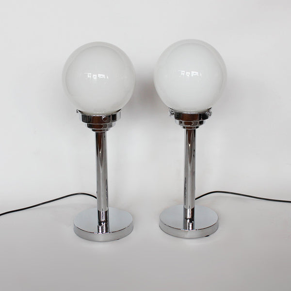 Art Deco chromed metal and glass table lamps at Jeroen Markies