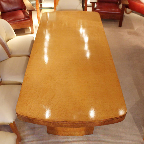 Art Deco dining table and 8 chairs in birds eye maple at Jeroen Markies