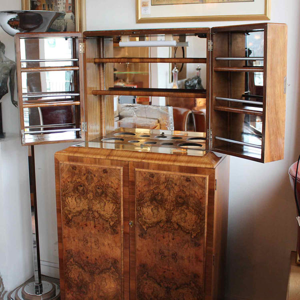 Art Deco cocktail cabinet with burr walnut panels circa 1930