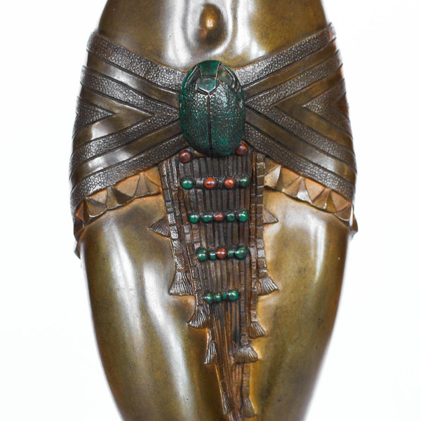 Cleopatra, an Art Deco, gilt and patinated bronze sculpture of Cleopatra, set over a bi-coloured marble plinth at Jeroen Markies
