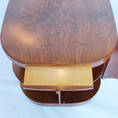 Heal's Art Deco library drinks table in walnut at Jeroen Markies