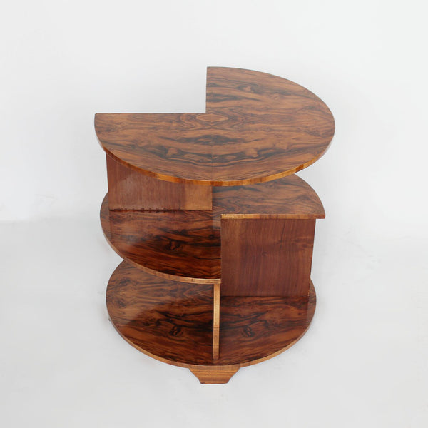 Art Deco library side table in figured walnut circa 1930