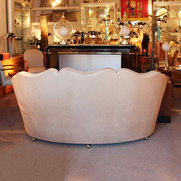 Art Deco Maurice Adams sofa with curved sides