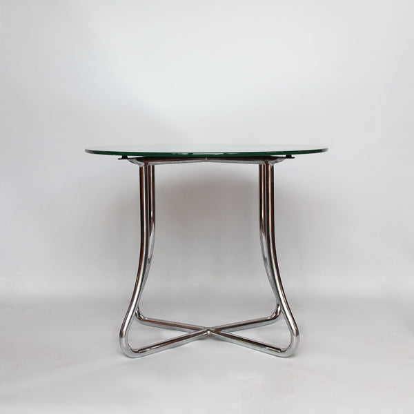 Art Deco metal and mirrored glass side table circa 1930