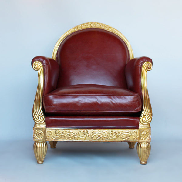 French Art Deco armchair with carved gilt frame at Jeroen Markies