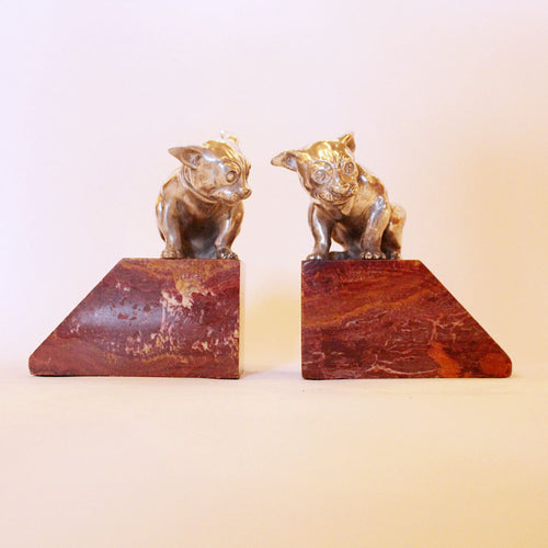 Art Deco French bulldog bookends in silvered bronze at Jeroen Markies