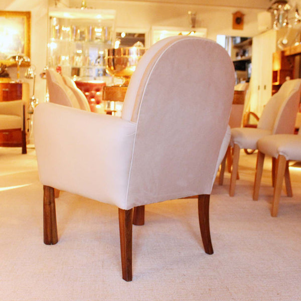 Art Deco armchairs with carved walnut legs French circa 1930 at Jeroen Markies
