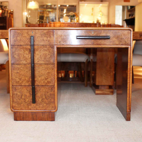 Art deco writing desk by Hamptons of London in burr walnut with leather top at Jeroen Markies