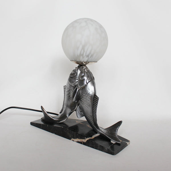 French Art Deco table lamp with two fish at Jeroen Markies Art Deco
