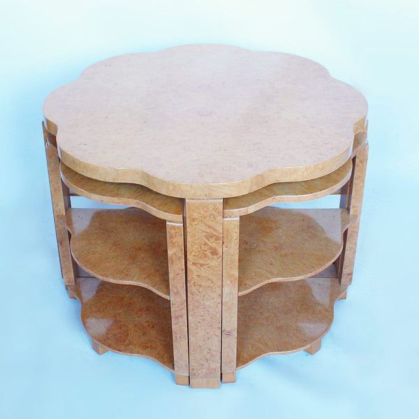 Epstein Art Deco nest of tables in burr walnut at Jeroen Markies Art Deco