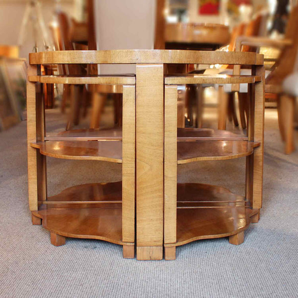 Art Deco nest of tables in burr walnut circa 1930 at Jeroen Markies