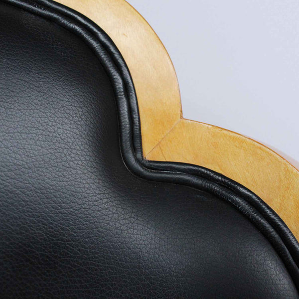 Art Deco cloud back side chairs circa 1930 upholstered in black leather at Jeroen Markies