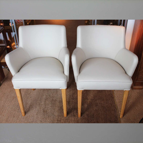 Art Deco side chairs upholstered in leather at Jeroen Markies