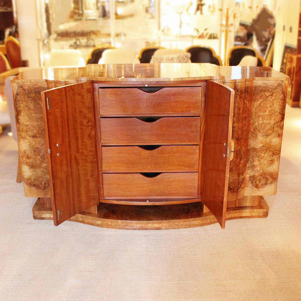 Epstein Art Deco sideboard in burr walnut circa 1930 at Jeroen Markies
