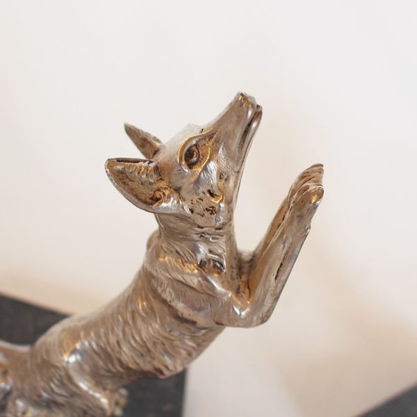 Art Deco silvered bronze fox bookends signed H Moreau