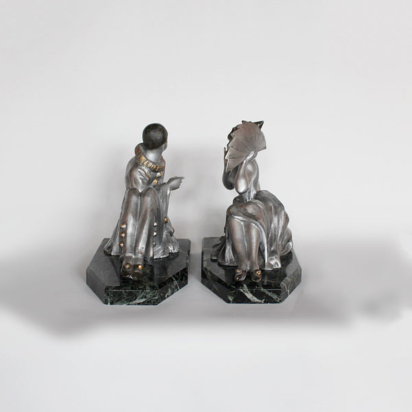 Art Deco cold painted spelter Pierrot and Columbine bookends at Jeroen Markies