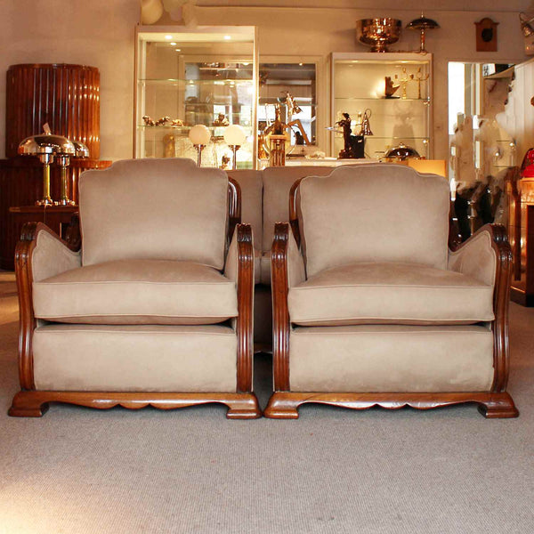 Art Deco three piece suite sofa and armchairs circa 1925 at Jeroen Markies