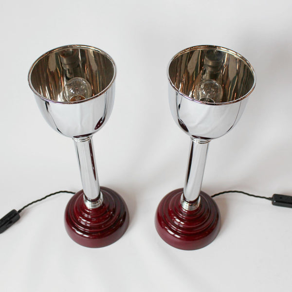 Art Deco uplighter table lamps with bakelite bases at Jeroen Markies