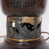 Art Deco uplighter table lamp with bronze neptune and mermaids at Jeroen Markies