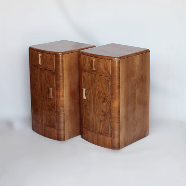 Classic Art Deco bedside cabinets in walnut at Jeroen Markies