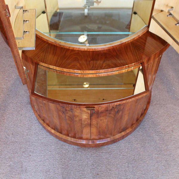 Art Deco demi-lune cocktail cabinet in walnut circa 1930
