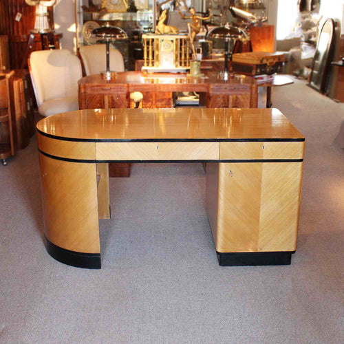 Art Deco desk with curved end in satin birch with ebonised wood at Jeroen Markies
