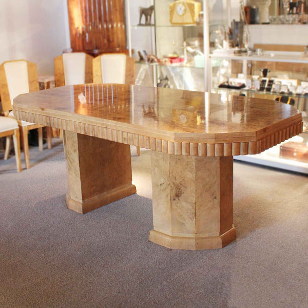 Art Deco six seat dining suite in walnut circa 1930 at Jeroen Markies