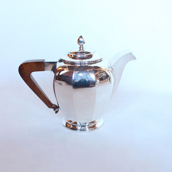 Art Deco silver and walnut tea and coffee set with sugar bowl and cream jug at Jeroen Markies
