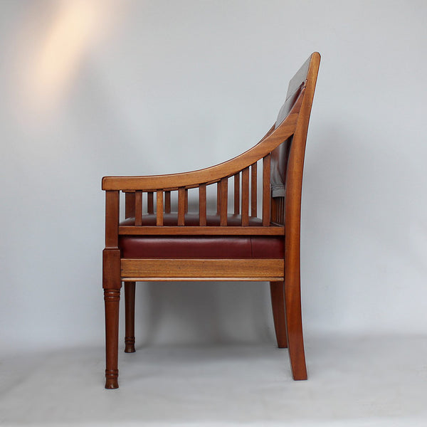 A pair of Arts & Crafts walnut armchairs with inlaid pattern at Jeroen Markies