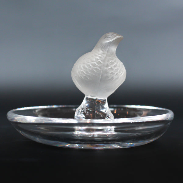 Detailed crystal ring dish by Lalique. Clear dish base topped with a frosted crystal Partridge. Signed to base at Jeroen Markies.