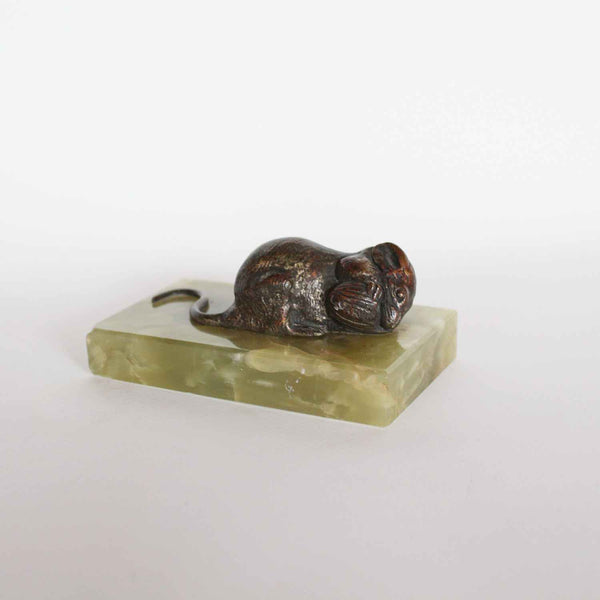 L Carvin mouse with nut 20thC bronze sculpture at Jeroen Markies