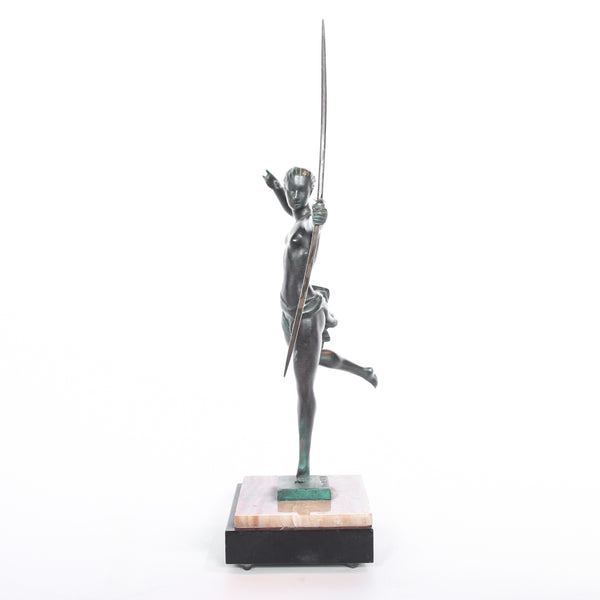 An Art Deco, patinated bronze figure of Diana The Huntress mounted on a marble base. Signed 'Domaro' at Jeroen Markies
