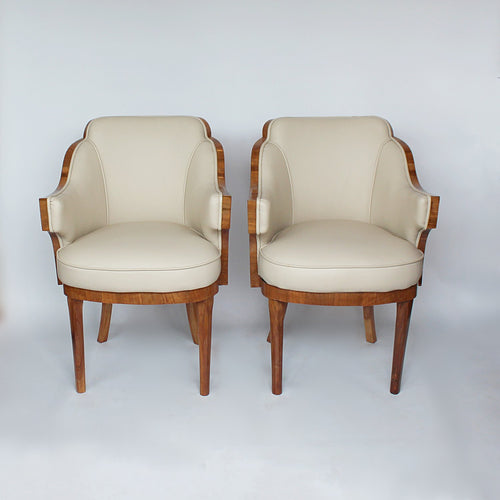 Epstein Art Deco walnut and leather armchairs circa 1930