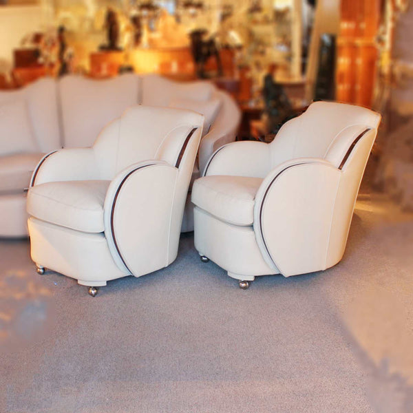 A pair of Art Deco cloud chairs by Harry & Lou Epstein circa 1930