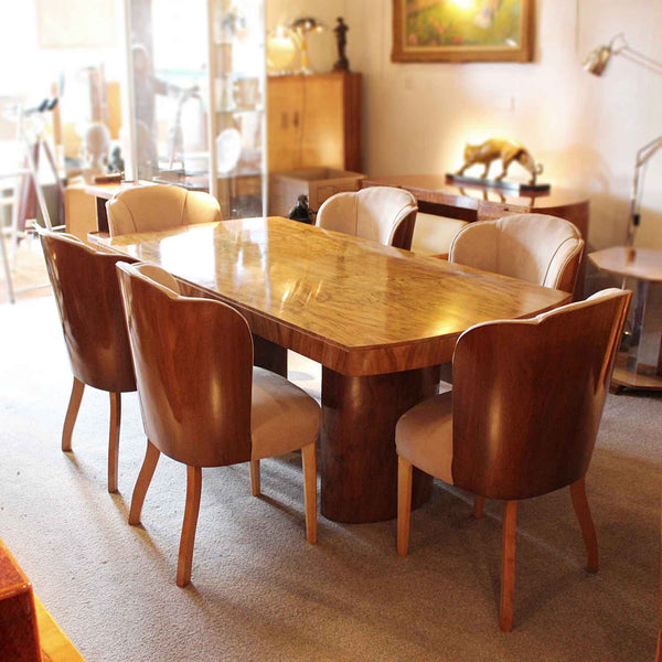 Art Deco 6 seat dining suite by Harry & Lou Epstein in figured walnut at Jeroen Markies