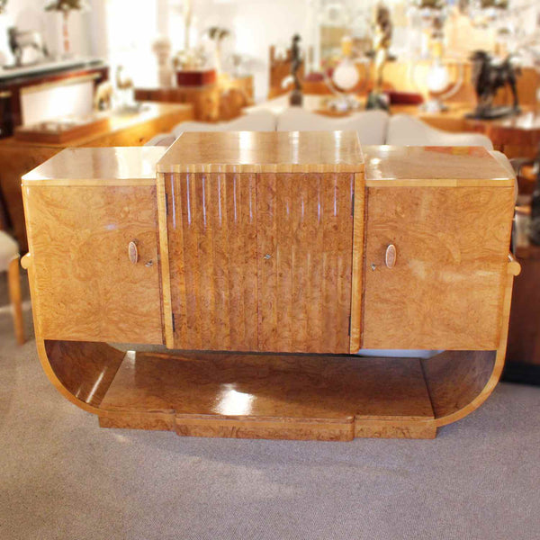 Epstein Art Deco sideboard in figured walnut with u-shaped base