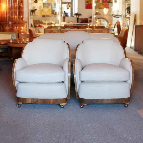 Epstein Art Deco three piece cloud suite with walnut wraps at Jeroen Markies