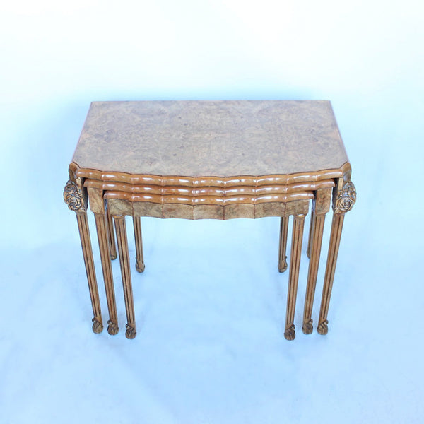 Epstein Art Deco nest of tables in burr walnut circa 1930 at Jeroen Markies