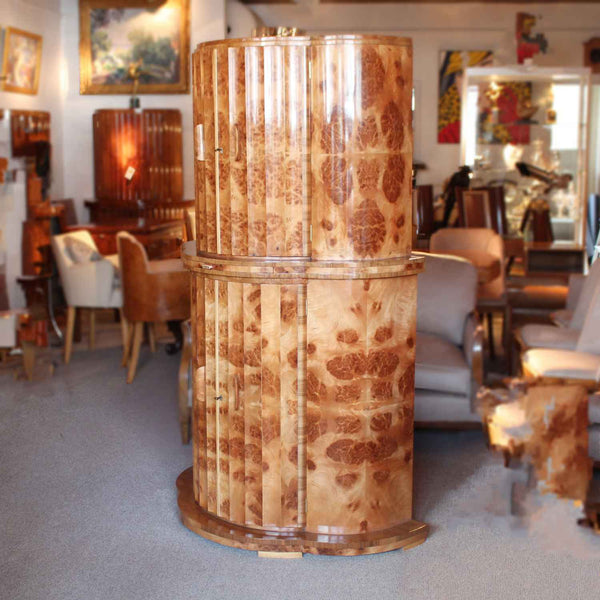 Epstein Art Deco demi lune walnut cocktail cabinet circa 1930