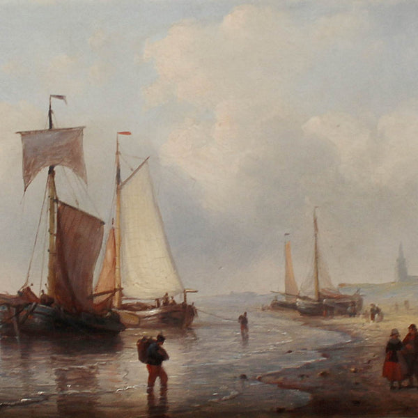 George Willem Opdenhoff Fishing Boats on the Shore circa 1850 at Jeroen Markies