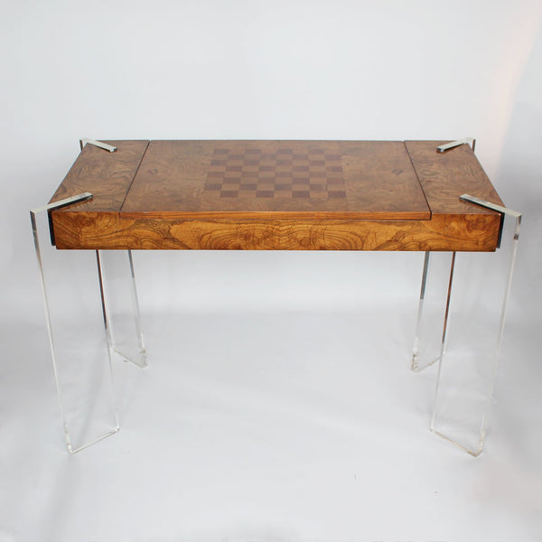 vintage Vladimir Kagan wood and lucite games table