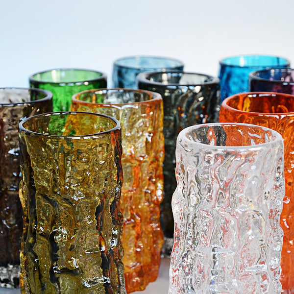 Collection of Twelve Textured 'Cylindrical Bark' Vases